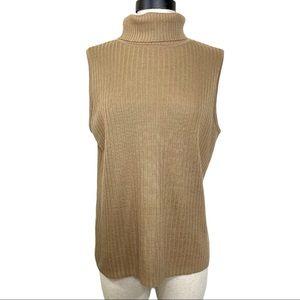 Tan silk blend rib sleeveless turtleneck sweater